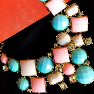 Jewelry - Statement enamel pink and blue necklace